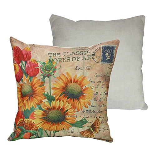 Dekorative Sonnenblumen-kissen (sungpunet Sunflower Baumwolle Leinen dekorativer Überwurf-Kissenbezug Kissen Case Reinigungstuch Art Spielzeug Kissenbezüge für Sofa)