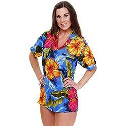 V.H.O. Funky Camisa Hawaiana, BigFlower, Light Blue, S