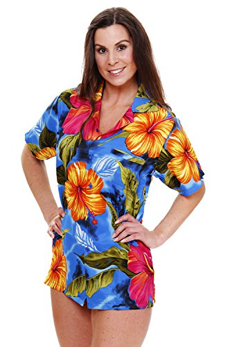 Funky Hawaiibluse, Big Flower, hellblau, (Sexy Tag Patricks St Shirts)