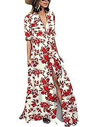 885270c56 DressLksnf Falda de Manga Larga Moda de Mujer Vestido Estampado Floral  Vestido Suelto con Bolsillos Elegante Original Blusa Bonita Prenda…