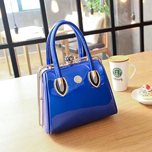 zbsw Mode Frauen Umhängetasche Casual Tote Frame Lackleder Taschen Markendesigner High Quality Diamonds Crossbody Handtaschen,Blau