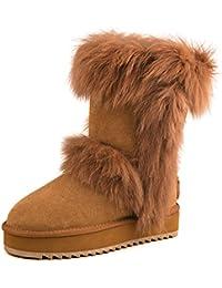 Shenduo Zapatos Invierno - Botas de nieve calientes de piel con pelo forradas con suela antideslizante para Mujer D9256