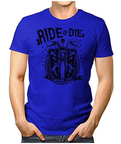 PRILANO Herren Fun T-Shirt - RIDE-OR-DIE - Small bis 5XL - NEU Blau