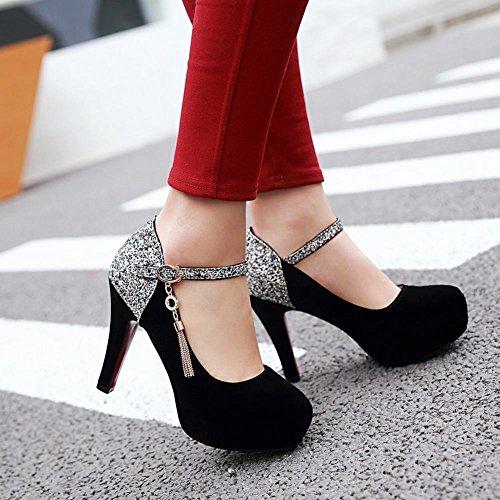 Mee Shoes Damen high heels Ankle strap runde Pumps Schwarz