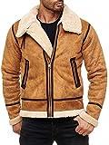 Red Bridge Herren Winterjacke Kunstleder gefütterter Vintage Jacke (XL, Camel)