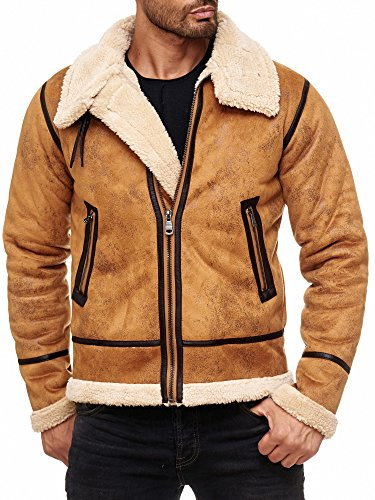 Red Bridge Herren Winterjacke Kunstleder gefütterter Vintage Jacke (L, Camel)