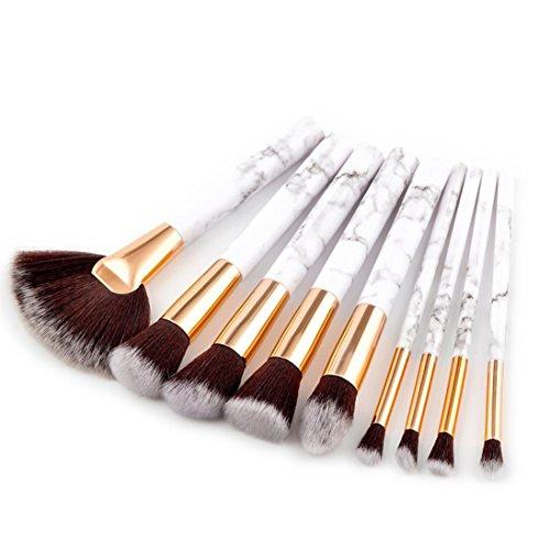 Toamen Pinceau de Maquillage Femmes Marbre Fard à joues Pinceaux d'ombre à paupières Garniture Surligner Ensemble Trousse 9 Pcs Cosmétique Blanc