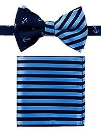 canacana Classic Anchor PRE-TIED Boy del lazo corbata, diseño de rayas bolsillo cuadrado Set