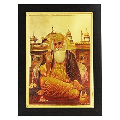 Gold Plated Photo Frame Of God Guru Nanak Dev Ji / Lord guru nanak / Waheguru / Guru nanak gurpurab / guru nanak jayanti / Sikh / Sikhism / Sri Harmandir Sahib Golden Temple of Amritsar / Darbar Sahib / Gurdwara / Ek Onkar / Shree Ganesh Enterprise Gifting Solutions / 35x26x1 cm