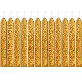 12 Pezzi Sigillatura dei Bastoncini di Cera con Stoppino Fuoco Antico Manoscritto Sigillante per Timbro Sigillo di Cera (Colore Oro)