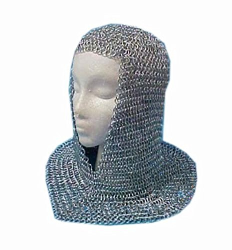 Nasir Ali Chainmail Coif Aluminium V-Neck Kettenhemd Hood Mittelalterliche Reenacment Rüstung Kostüm (Chainmail Coif Kostüm)