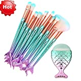 Covermason 11 Stück Meerjungfrau Makeup Pinsel Synthetische Oval Kosmetik Blush Eyeliner Gesicht Pulver Pinselset Fisch Schwanz Pinsel