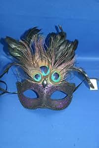 Noire et Pourpre Plume de Paon Vénitien Masque de Mascarade Partie Des Yeux Masque