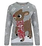 Girlzwalk Damen Bambi Deer Weihnachtspullover Frauen 3D Tassel Schal Pullover Sweater