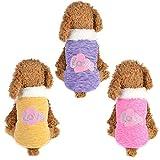 Hunde Katzen Kleidung Kapuzenpulli für Kleine Hunde für Männchen und Weibchen Love-Muster Hunde Schlafanzug für Welpen (Rosa, S)