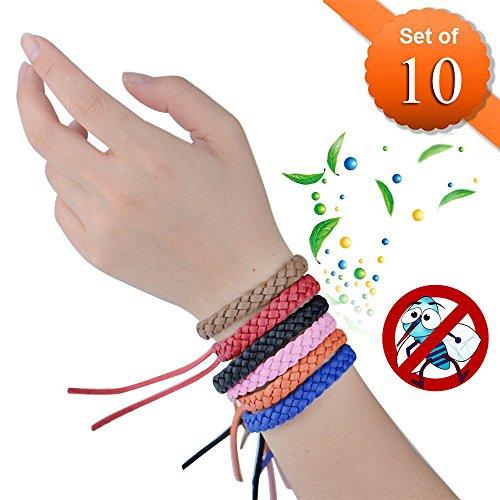 Meiso Mückenschutz-Armbänder, Packung mit 10 Mückenschutz Armband, Stilvolle Leder-Bänder, langanhaltender Schutz gegen Mücken und Insekten, ohne DEET, kein Spray, für Kinder/Babys/Erwachsene