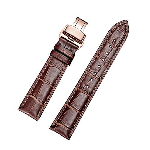 Kalbsleder Ersatz Uhrenarmbänder mit Bereitstellung Rose Gold Buckle (22mm, Braun)
