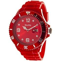 Nuvo - NU13H12 - Unisex Armbanduhr - Quartz - Analog - Rotes Zifferblatt - Rotes Armband aus Silikon - Modisch - Elegant - Stylish