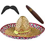 MENS MEXICAN RED SOMBRERO WITH MEXICAN FEISTA BAND + MOUSTACHE + JUMBO CIGAR FANCY DRESS ACCESSORY STRAW HAT