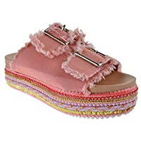 Nature Breeze Ernie 01 Womens Dual Buckle Studded Espadrille Open Toe Platform Sandals Pink Denim 6
