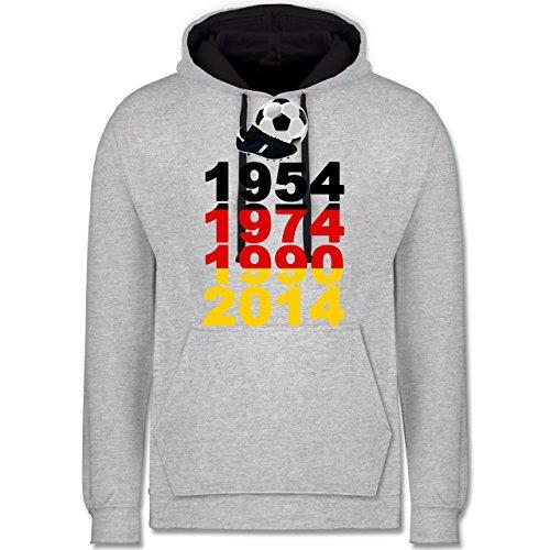 Fußball - 1954, 1974, 1990, 2014 - WM 2014 Weltmeister Deutschland - Kontrast Hoodie Grau meliert/Dunkelblau