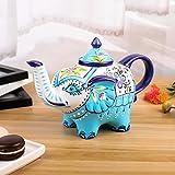 Artvigor Porzellan Kaffeekanne, Handbemalt, 800 ml Teekanne, Elefant Design Tischdeko, Geschenk