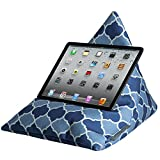 Luxurious Designer iPad, Tablet, eReader, Phone Bean Bag Cushion Stand - Shades of Blue Badi - Marrakech Collection - Soft to Touch Velvet - (A Range of Adults & Children Designs) - Designed, Printed & Handmade in the UK