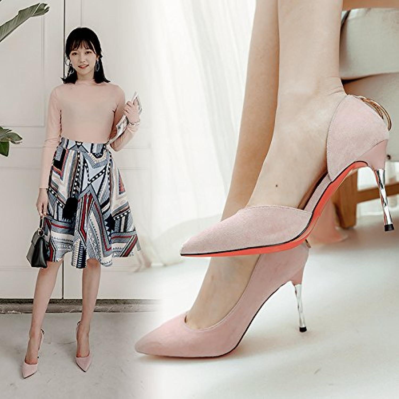 La ultra-delgada con zapatos zapatos de mujer como wild lado black tip zapata único ,38, Rosa
