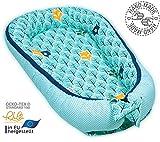 PALULLI Kuschelnest 2-seitig Babynest Babynestchen Baby Nest Nestchen Reisebett Wickelauflage Kuschelbett, Kokon Kokon für Babybett - Babys und Säuglinge, 100% Baumwolle OEKO TEX (Minz Wald)