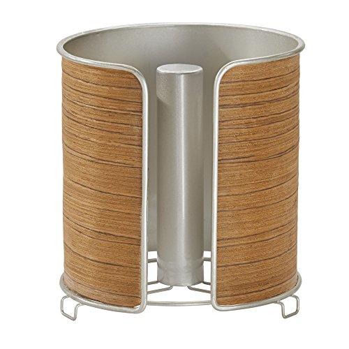 iDesign 90256EU RealWood Küchenkrepp-Halter, 16,4 x 16,9 x 18,3 cm, satiniert, edelstahl