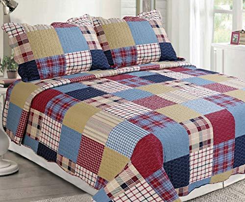 Sapphire Home 3-teiliges Bettwäsche-Set für Queen/King-Size-Betten mit 2 Kissenbezügen, Muster und Farben Queen Patch-Multicolor - Multi-color Patch