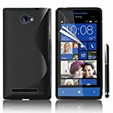 HTC Windows Phone 8S Étui HCN PHONE S-Line TPU Gel Silicone Coque souple pour HTC Windows Phone 8S + stylet - NOIR