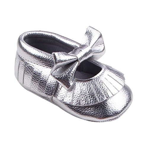 Tefamore Baby Girl Krippe Bowknot Schuhe Casual Schuhe Silber