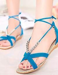 ab40e4de3a2c17 ShangYi Sandaletten für Damen Damenschuhe Kunstleder Flacher Absatz  Zehenfrei Sandalen Outddor Kleid Lässig Blau