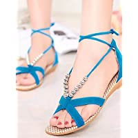 ShangYi Sandaletten für Damen Damenschuhe - Sandalen - Kleid - Kunstleder - Blockabsatz - Komfort - Schwarz / Blau / Gelb / Grün / Lila / Rot / Beige , blue-us6.5-7 / eu37 / uk4.5-5 / cn37 , blue-us6.5-7 / eu37 / uk4.5-5 / cn37