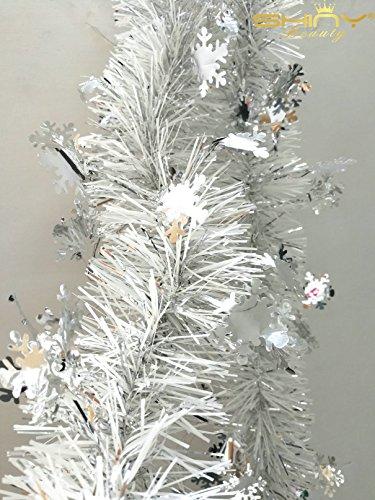 ShinyBeauty Metallic-Tinsel-Foil-Garland-6.5ft Lang für Randlocher & New Year Party Decor-SF 6.5FT Silber