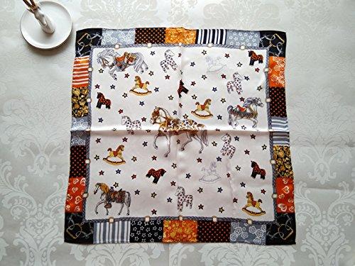Upper-small carré en soie foulards pour femme foulards pour les enfants d'été sauvage Printemps/été de foulard de soie de mûrier double Silencieux Horse paradise-m words