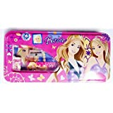 Shree Krishna Handicrafts And Gallery Barbie Cartoon Art METAL Pencil Box (Set Of 6, PINK)