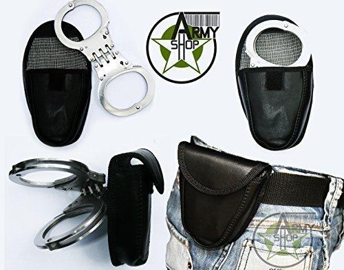 Preisvergleich Produktbild Security Handschellen mit Gelenk inkl. Gürteltasche Hand Fessel US Police Army Edelstahl