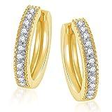 MEENAZ white Gold Plated 24k In American Diamond Cz Hoop Earring for Women/Girl