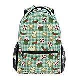 Rucksack für die Schule, für Weihnachten, Backen, Lebkuchen, Kuchen, Tassen, Wasserdicht, Schultertasche, Gymnastik-Rucksack, Kirsche, Beerengrün, Rot