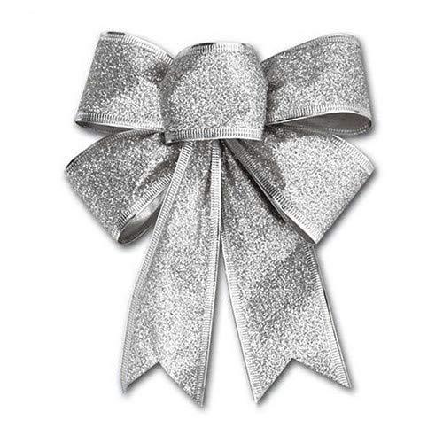 Lsgepavilion 1 x Weihnachtsschleife, Weihnachtsdekoration, Party-Geschenk, Weihnachtsdekoration, Silber, Einheitsgröße (Kränze Zum Verkauf)