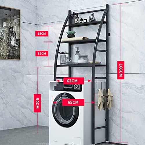 Waschmaschine Regal 3-lagiges Eisenmaterialregal Waschmaschinenregal Waschregal für Badezimmerregal Multifunktionsfach (schwarz/weiß) (Farbe : SCHWARZ)
