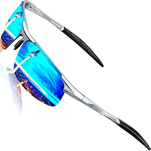 SIPLION Herren Sport Polarisierte Treiber Glasses Sonnenbrillen Al-Mg Metallrahme Ultra leicht (Silver+blue)