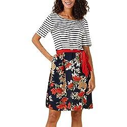 Go First Robes De Jupe Longue, Vintage Floral Printed Patchwork Féminin À Manches Moitié Casual Robe De Soirée Élégante A-Line (Color : Rouge, Size : XXL)