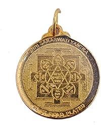Saraswati Yantra Locket With Silk Dori/Gold Plated/Best For Student,Speaking Skill,Sharp Mind/Brahmgyan Gallary