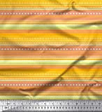 Soimoi Gelb Viskose Chiffon Stoff Streifen, Herz & dot