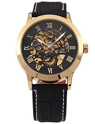 Skelett Elegante Klassisch mechanische Automatik Herrenuhr Armbanduhr Uhr PMW078