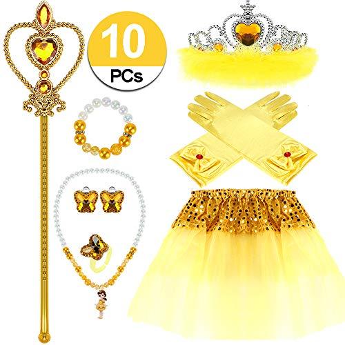 VAMEI Mädchen Prinzessin Belle kostüm Dress up Party Zubehör mit Krone Wand Handschuhe Halskette Ohrringe Ring Tiara Zopf Zauberstab Maske Set (Belle)