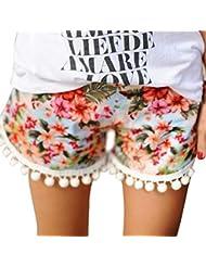 vovotrade Cheongsam Flor Mujer pantalones cortos verano casual pantalones cortos pantalones de cintura (S)
